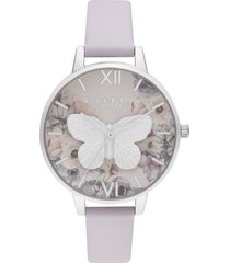 women's olivia burton 3d butterfly leather watch, 34mm