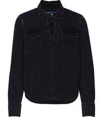 lmc denim lace up top lmc blac overhemd met lange mouwen zwart levi's made & crafted