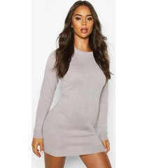 crew neck long sleeve dress, silver