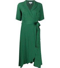 ganni gingham-print wrap mid-length dress - green