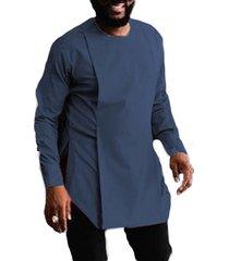 hombres casual manga larga llanura asimétrica hendidura personalidad camisa