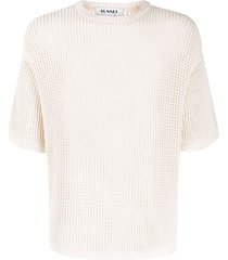 sunnei open knit short sleeve top - neutrals