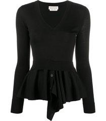 alexander mcqueen peplum-hem knitted jumper - black