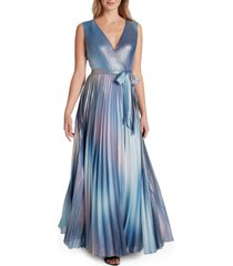 tahari asl tie-belted pleated chiffon gown