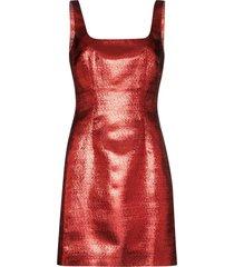 de la vali square neck shift mini dress - red