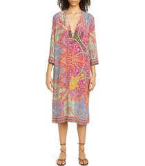 women's etro floral midi caftan cover-up, size 2 us - red