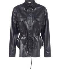 blanca vita cleo vegan leather shirt-jacket