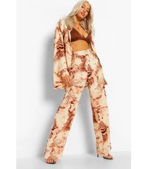 baggy marmerprint wide leg broek, nude