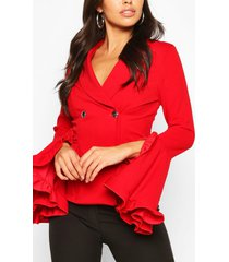 frill sleeve double breasted blazer, red