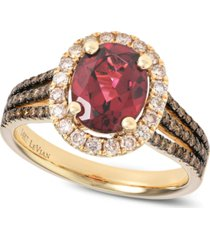 le vian raspberry rhodolite (2 ct. t.w.) and diamond (5/8 ct. t.w.) ring in 14k rose gold