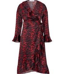 omlottklänning red animal sateen frill dress