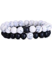 pulsera 2 piezas cuentas piedra natural ajustable blanco negro