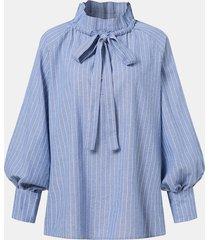 camicetta casual da donna a maniche lunghe con coulisse con bottoni stampati a righe