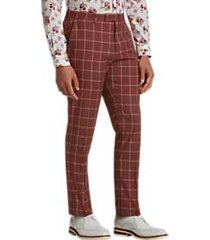 paisley & gray slim fit suit separates pants rust windowpane
