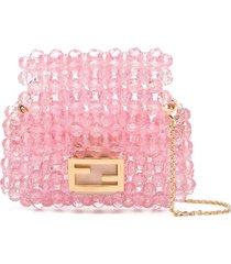 fendi beaded mini crossbody bag - pink