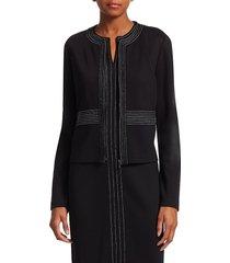 st. john women's milano knit jacket - caviar - size 00