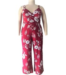 derek heart trendy plus size floral-print surplice jumpsuit