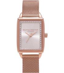 olivia burton women's classics rose gold-tone stainless steel mesh bracelet watch 20mm