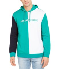ax armani exchange men's colorblocked logo hoodie, created for macy's