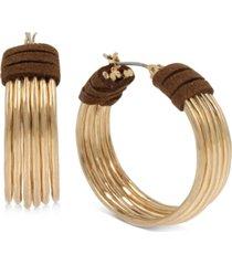 """robert lee morris soho gold-tone medium suede-wrapped multi-wire hoop earrings, 1.25"""""""