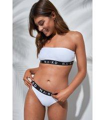 na-kd swimwear logo bikini briefs - white