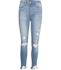destory slim high rise ankle jeans slimmade jeans blå abercrombie & fitch