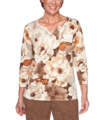 alfred dunner petite walnut grove cotton printed sweater