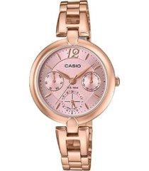 reloj analógico mujer casio ltp-e402pg4a - dorado con rosa
