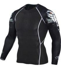 camiseta hombre lobo 3d manga larga lycra tc96 negro