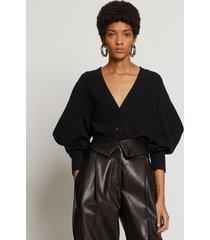 proenza schouler cashmere draped puff sleeve cardigan black l