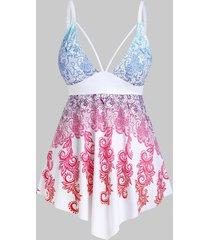 plus size empire waist printed cutout skirted tankini swimwear