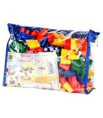 jogo conectando formas carlu blocos de montar 150 peças colorido