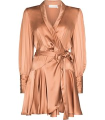 zimmermann wraparound mini dress - neutrals