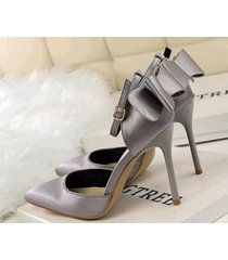 pp410 elegant pointy strappy ankle pump w big bowties end, us size 4-8.5, gray