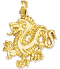 14k gold charm, small dragon charm