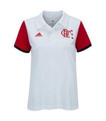 camisa polo adidas cr flamengo feminina - branco