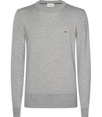 suéter wool cotton embroidery gris calvin klein