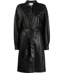 semicouture faux leather shirt dress - black