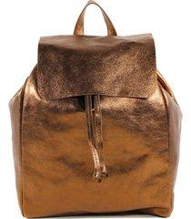mochila cuero brillo cobre nara