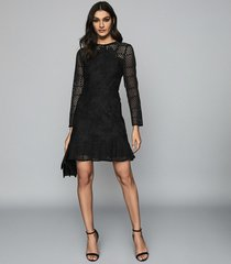 reiss baptiste - lace dress in black, womens, size 14