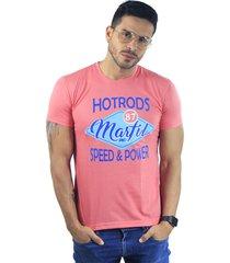 camiseta hombre manga corta slim fit rosado marfil hotrods