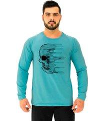 camiseta manga longa moletinho alto conceito caveira destruiã§ã£o azul piscina - azul - masculino - algodã£o - dafiti