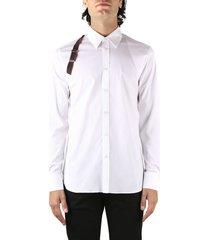 alexander mcqueen harness shirt in stretch cotton