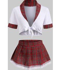 plaid lace trim tie front schoolgirl lingerie costume