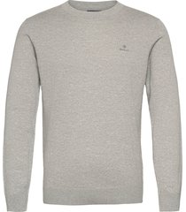 cotton cashmere c-neck gebreide trui met ronde kraag grijs gant