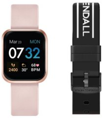 women's kendall + kylie blush and black logo straps smart watch set 36mm