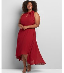 lane bryant women's tie-neck high-low maxi dress 24p red
