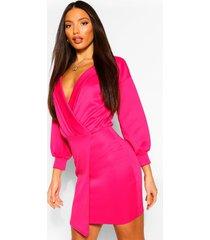 tall blazer jurk met pofmouwen, warm roze