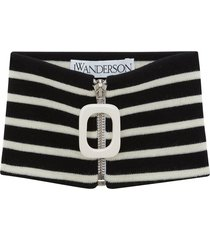 jw anderson horizontal-stripe zip-up scarf - black