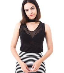 blusa moda vício gola alta regata com decote transparente preto